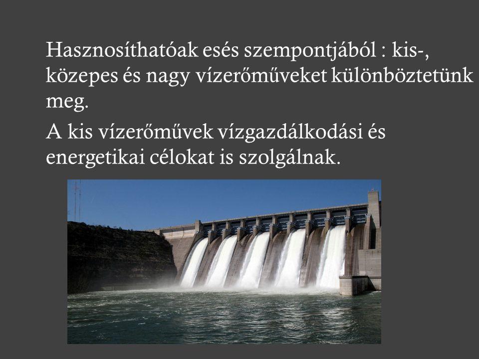 Hasznosíthatóak esés szempontjából : kis-, közepes és nagy vízerőműveket különböztetünk meg.