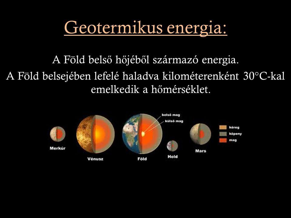 Geotermikus energia: A Föld belső hőjéből származó energia.