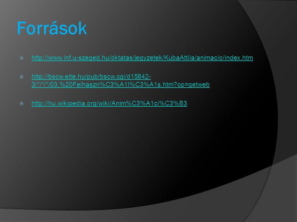 Források http://www.inf.u-szeged.hu/oktatas/jegyzetek/KubaAttila/animacio/index.htm.