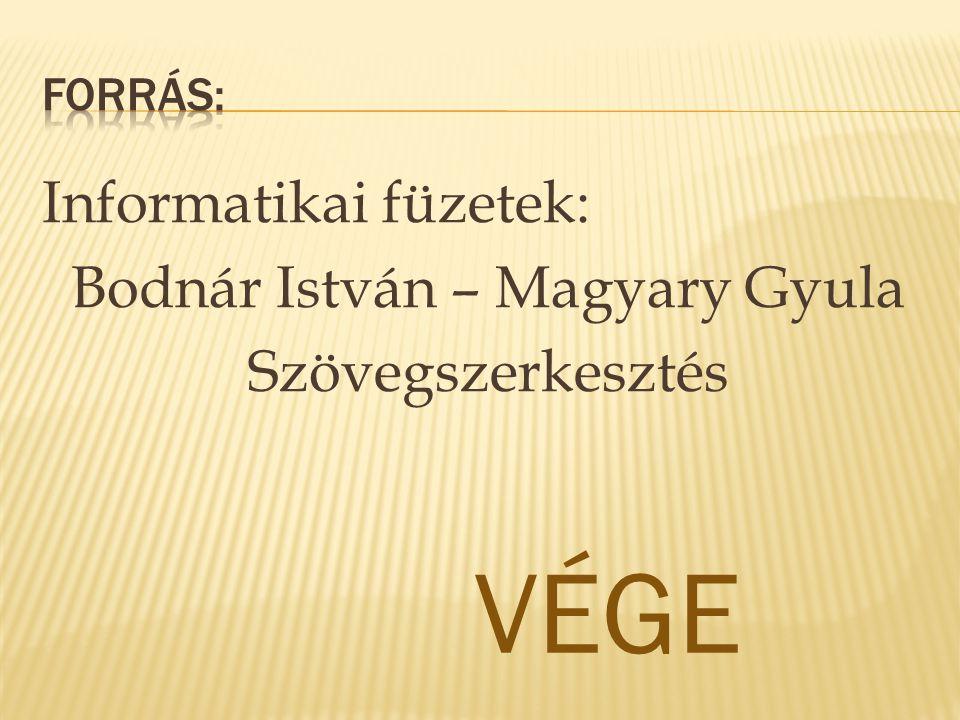 Forrás: Informatikai füzetek: Bodnár István – Magyary Gyula Szövegszerkesztés VÉGE