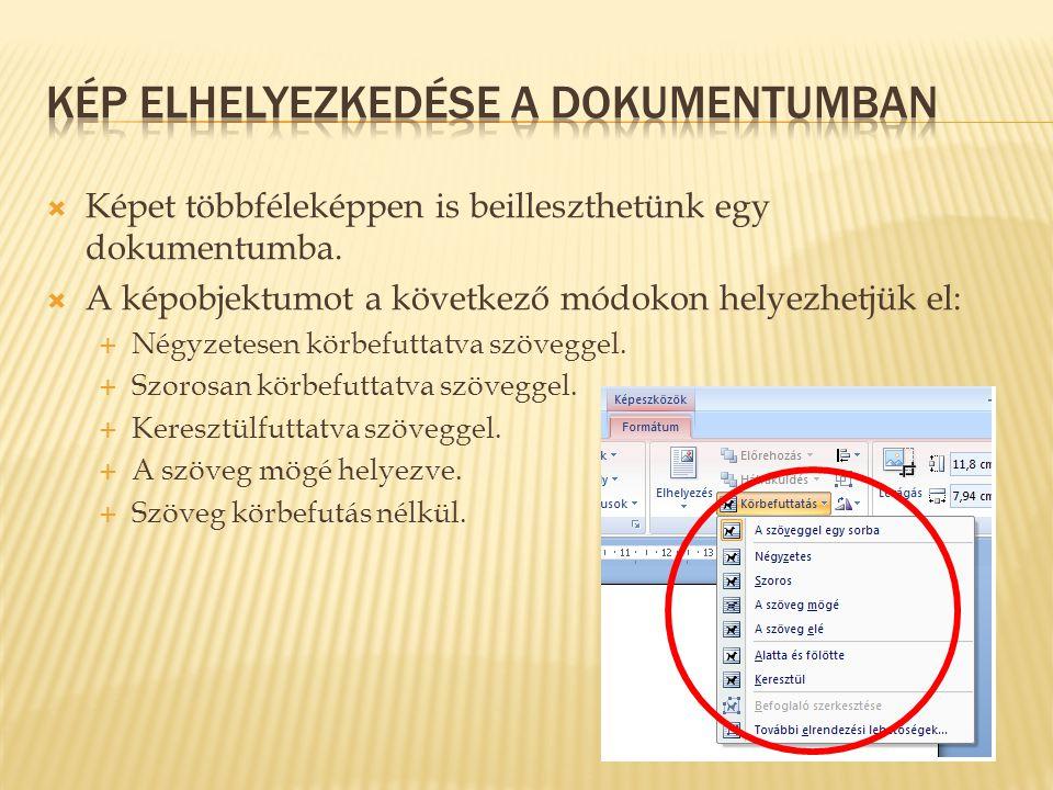 Kép elhelyezkedése a dokumentumban