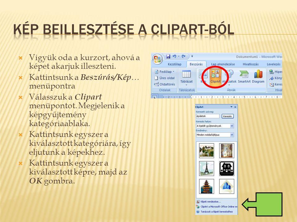 Kép beillesztése a Clipart-ból