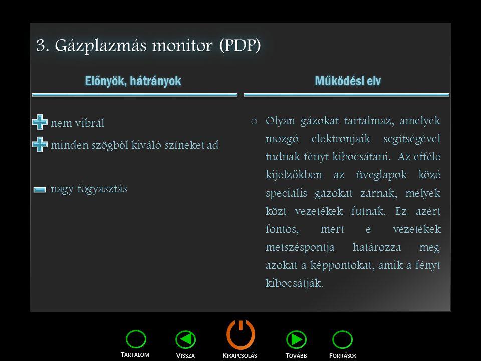 3. Gázplazmás monitor (PDP)