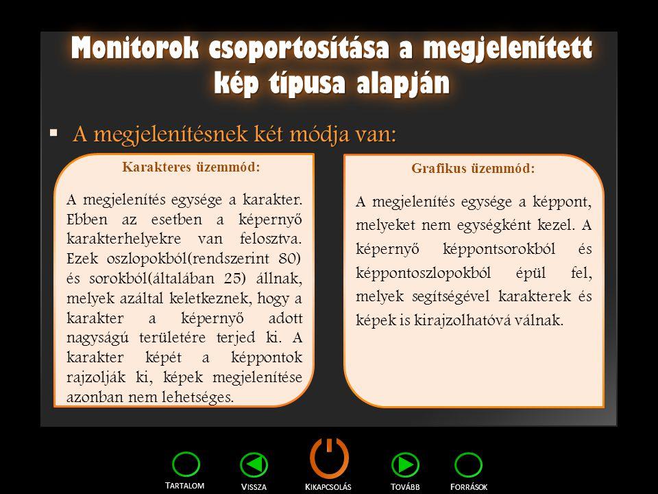 Monitorok csoportosítása a megjelenített kép típusa alapján