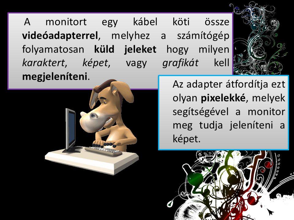 A monitort egy kábel köti össze videóadapterrel, melyhez a számítógép folyamatosan küld jeleket hogy milyen karaktert, képet, vagy grafikát kell megjeleníteni.