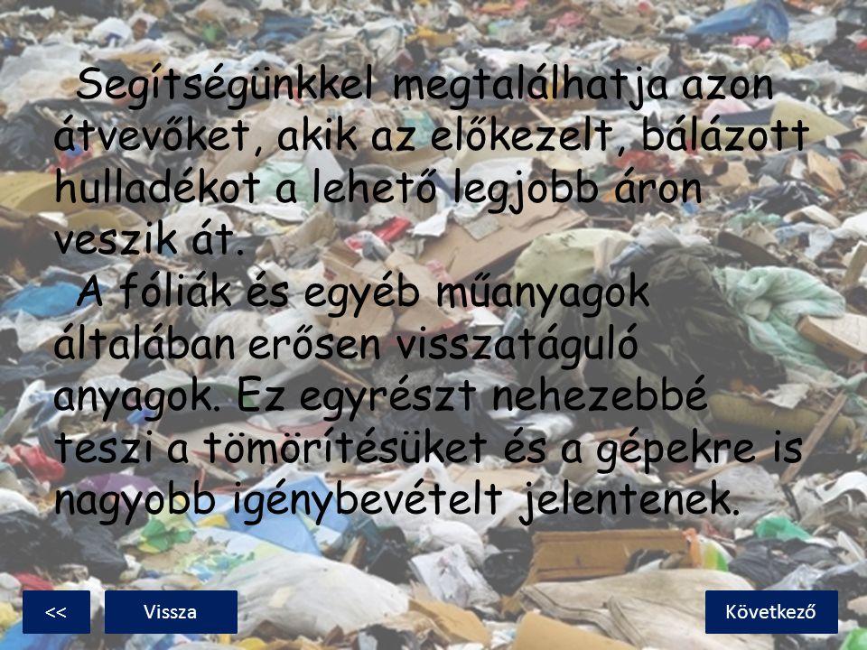 Segítségünkkel megtalálhatja azon átvevőket, akik az előkezelt, bálázott hulladékot a lehető legjobb áron veszik át. A fóliák és egyéb műanyagok általában erősen visszatáguló anyagok. Ez egyrészt nehezebbé teszi a tömörítésüket és a gépekre is nagyobb igénybevételt jelentenek.