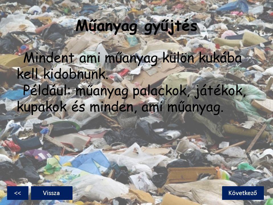 Műanyag gyűjtés Mindent ami műanyag külön kukába kell kidobnunk. Például: műanyag palackok, játékok, kupakok és minden, ami műanyag.