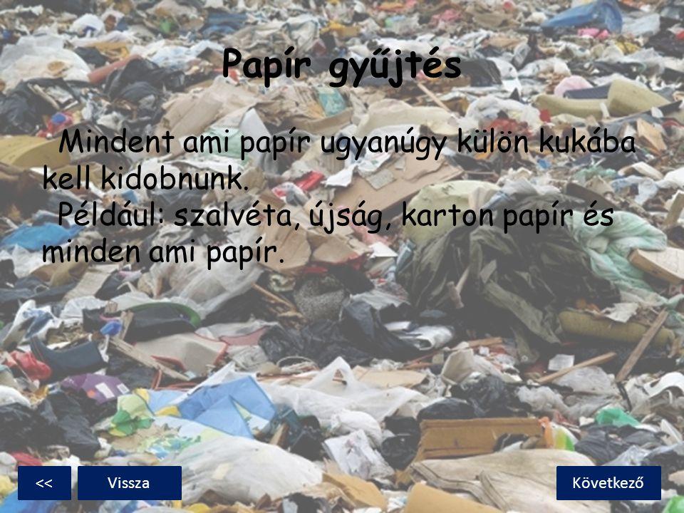 Papír gyűjtés Mindent ami papír ugyanúgy külön kukába kell kidobnunk. Például: szalvéta, újság, karton papír és minden ami papír.