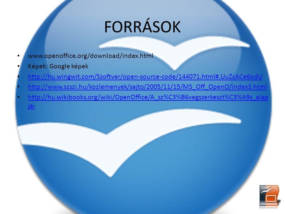 FORRÁSOK www.openoffice.org/download/index.html Képek: Google képek