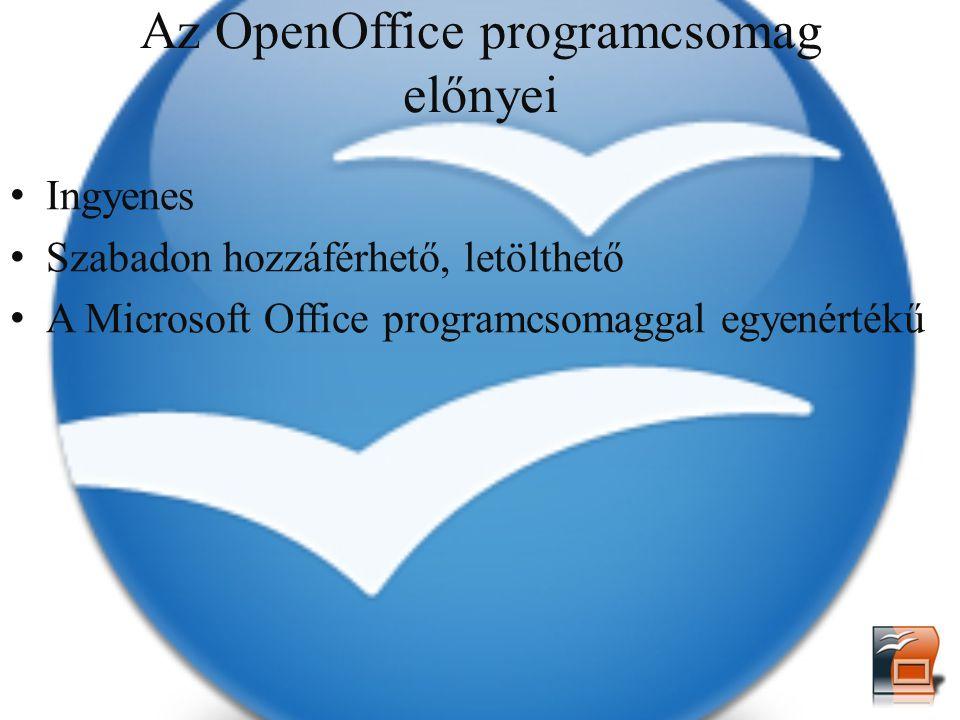 Az OpenOffice programcsomag előnyei