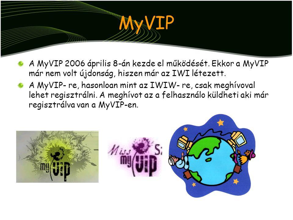 MyVIP A MyVIP 2006 április 8-án kezde el működését. Ekkor a MyVIP már nem volt újdonság, hiszen már az IWI létezett.