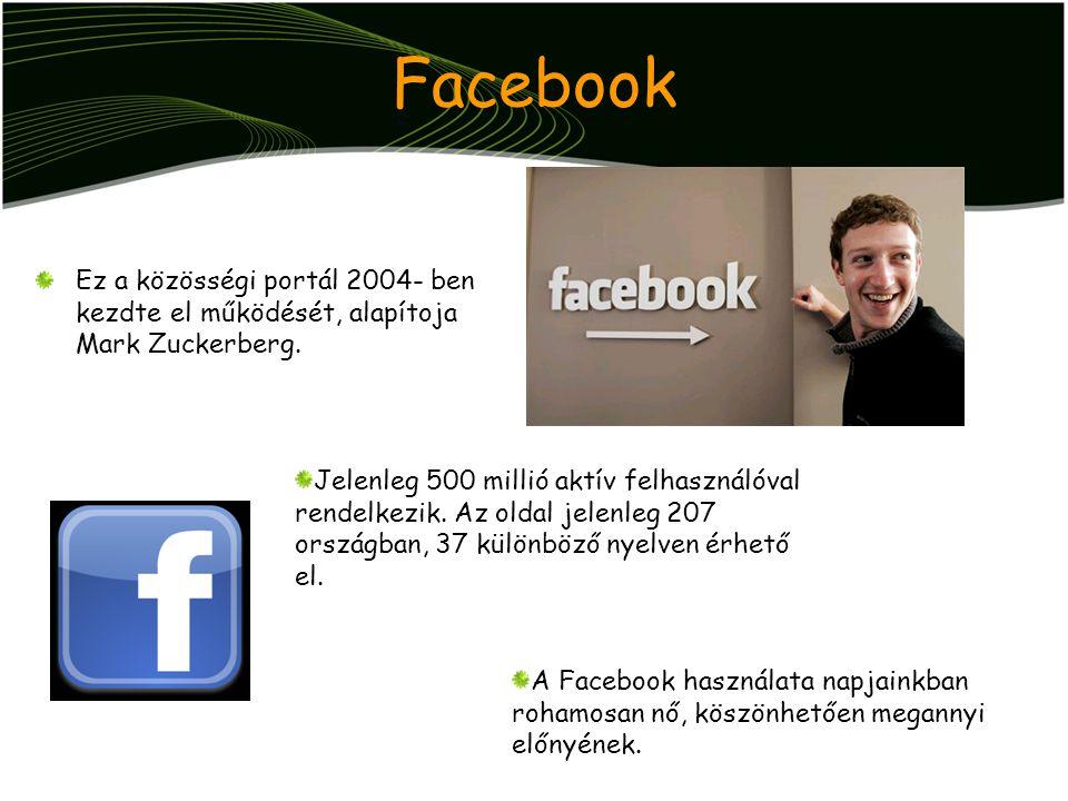 Facebook Ez a közösségi portál 2004- ben kezdte el működését, alapítoja Mark Zuckerberg.