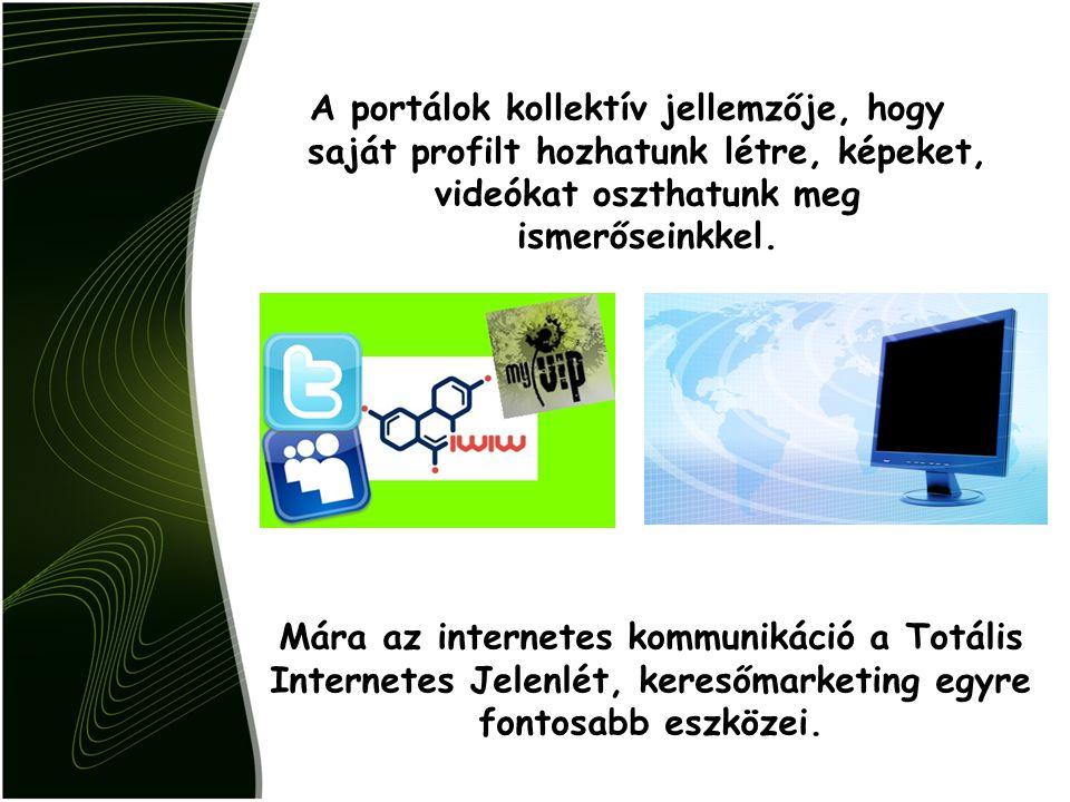 A portálok kollektív jellemzője, hogy saját profilt hozhatunk létre, képeket, videókat oszthatunk meg ismerőseinkkel.