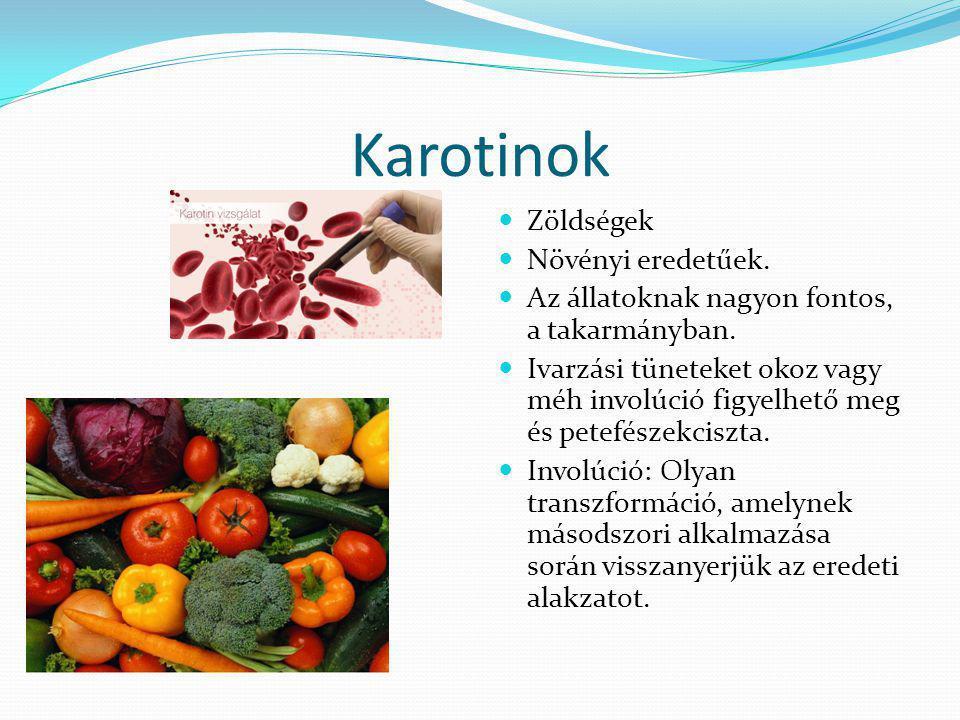Karotinok Zöldségek Növényi eredetűek.
