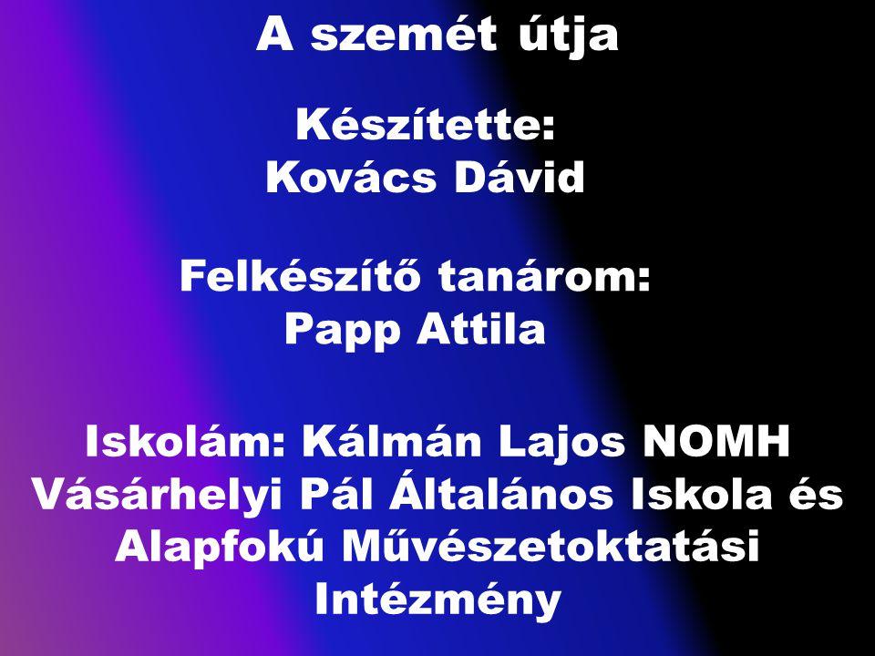 A szemét útja Készítette: Kovács Dávid Felkészítő tanárom: Papp Attila