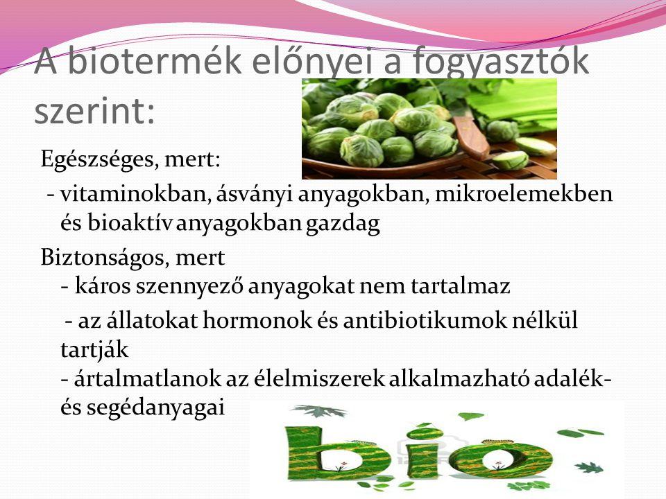 A biotermék előnyei a fogyasztók szerint: