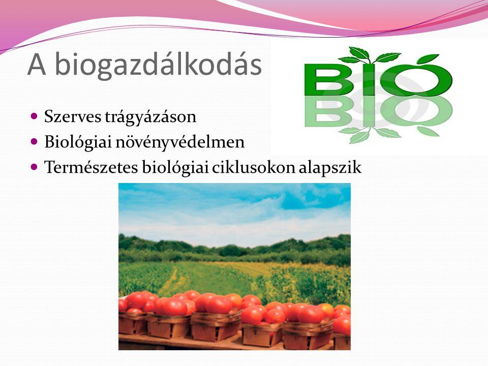 A biogazdálkodás Szerves trágyázáson Biológiai növényvédelmen