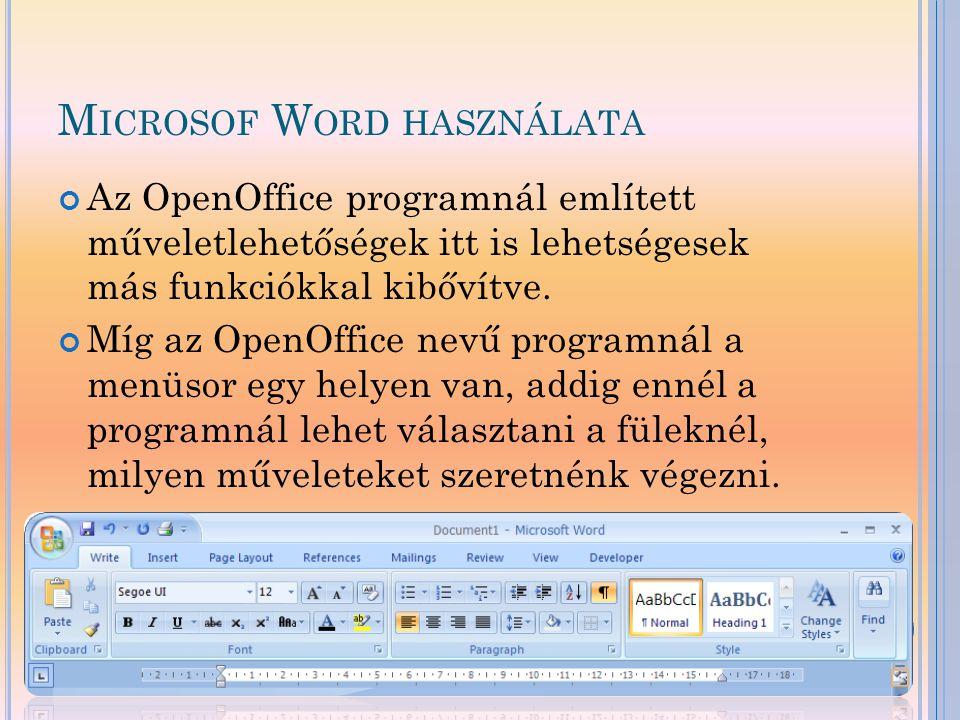 Microsof Word használata