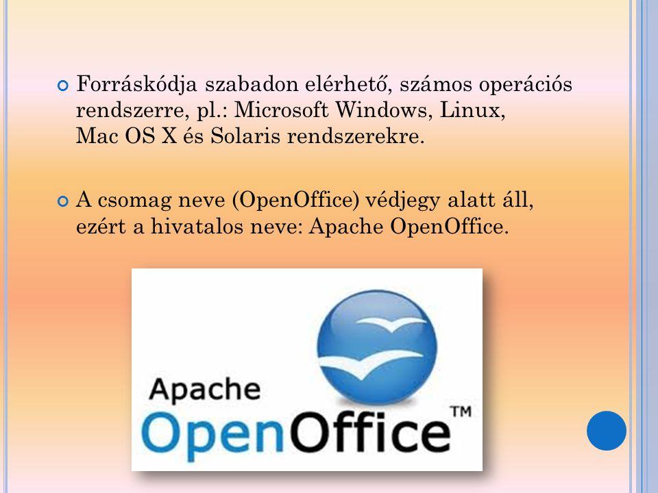 Forráskódja szabadon elérhető, számos operációs rendszerre, pl