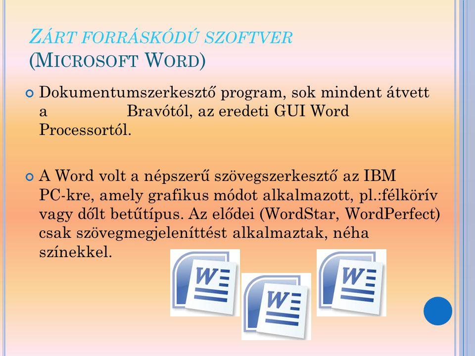 Zárt forráskódú szoftver (Microsoft Word)