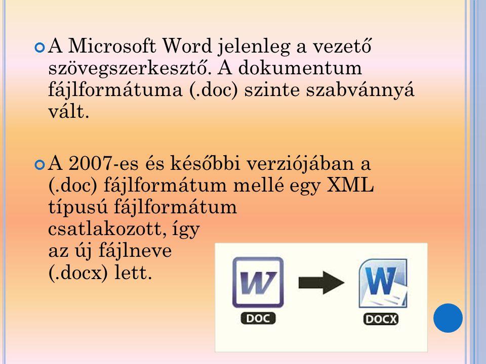 A Microsoft Word jelenleg a vezető szövegszerkesztő
