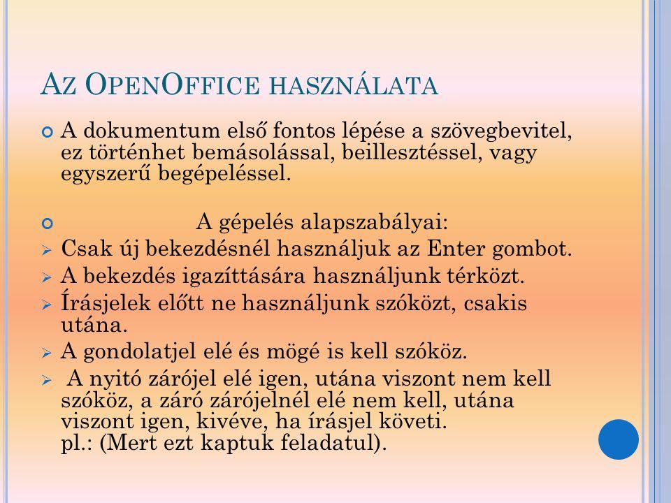 Az OpenOffice használata