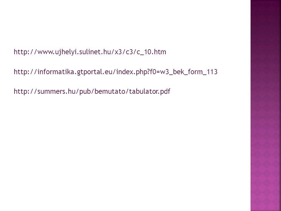 http://www.ujhelyi.sulinet.hu/x3/c3/c_10.htm http://informatika.gtportal.eu/index.php f0=w3_bek_form_113.
