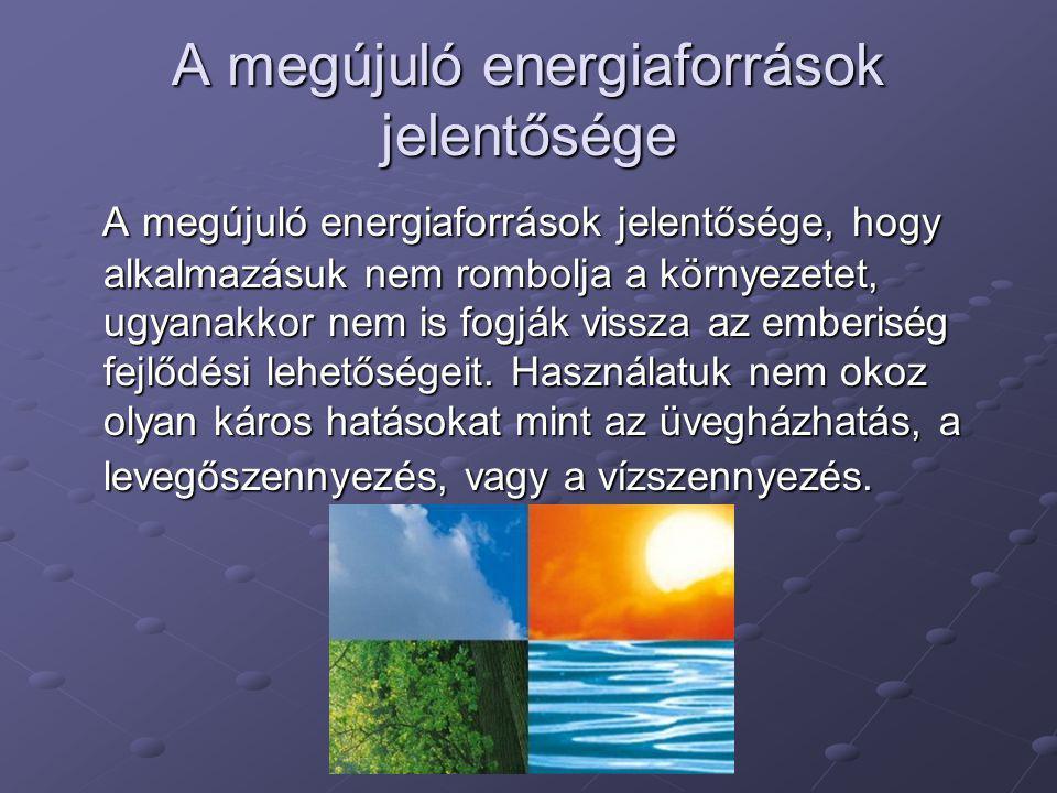 A megújuló energiaforrások jelentősége