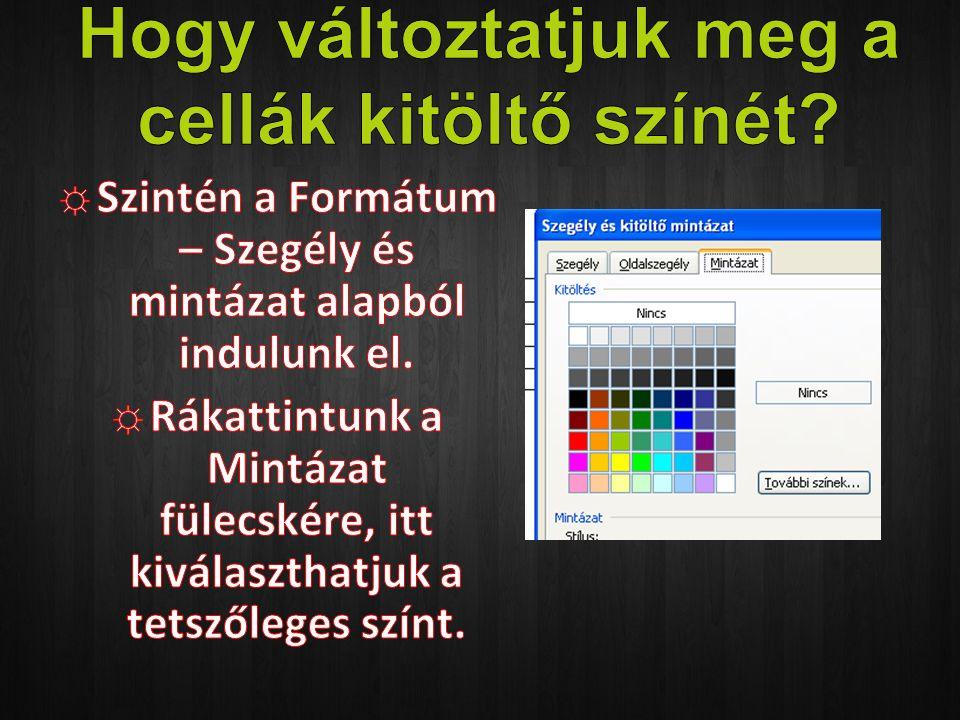 Hogy változtatjuk meg a cellák kitöltő színét