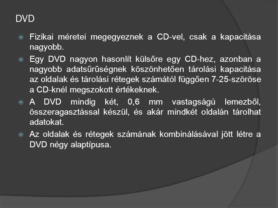 DVD Fizikai méretei megegyeznek a CD-vel, csak a kapacitása nagyobb.