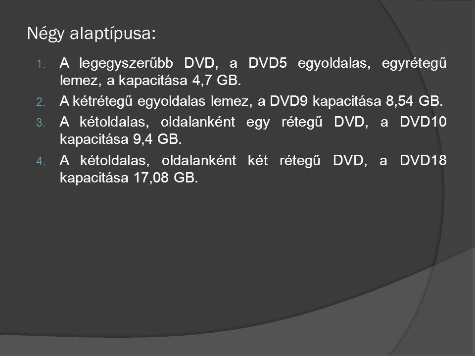 Négy alaptípusa: A legegyszerűbb DVD, a DVD5 egyoldalas, egyrétegű lemez, a kapacitása 4,7 GB.