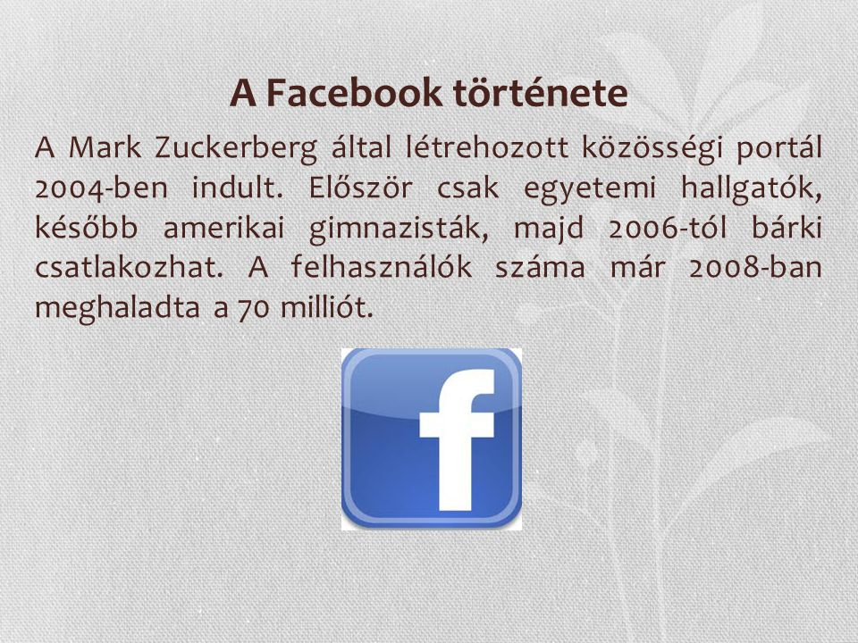 A Facebook története