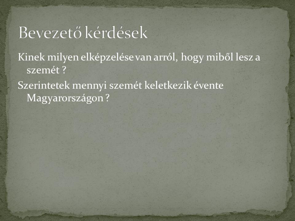 Bevezető kérdések Kinek milyen elképzelése van arról, hogy miből lesz a szemét Szerintetek mennyi szemét keletkezik évente Magyarországon