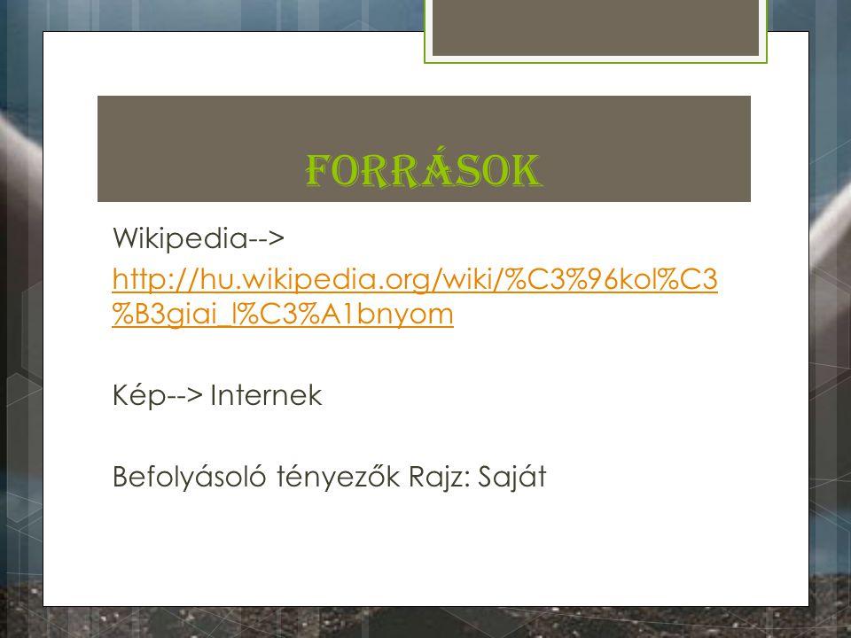 Források Wikipedia--> http://hu.wikipedia.org/wiki/%C3%96kol%C3%B3giai_l%C3%A1bnyom Kép--> Internek Befolyásoló tényezők Rajz: Saját