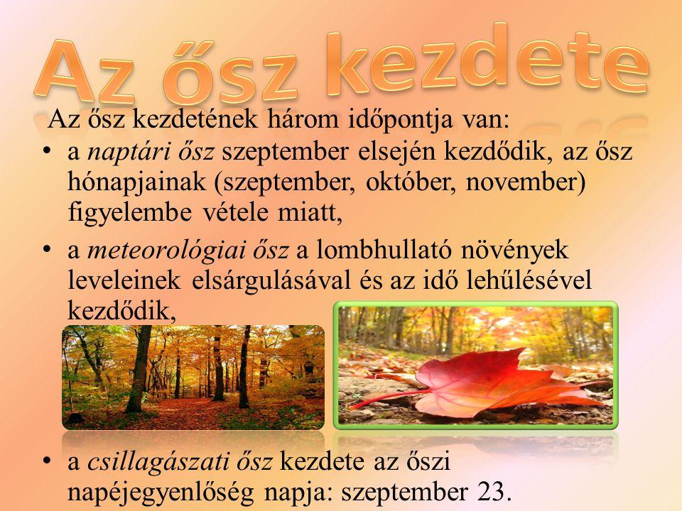 Az ősz kezdete Az ősz kezdetének három időpontja van: