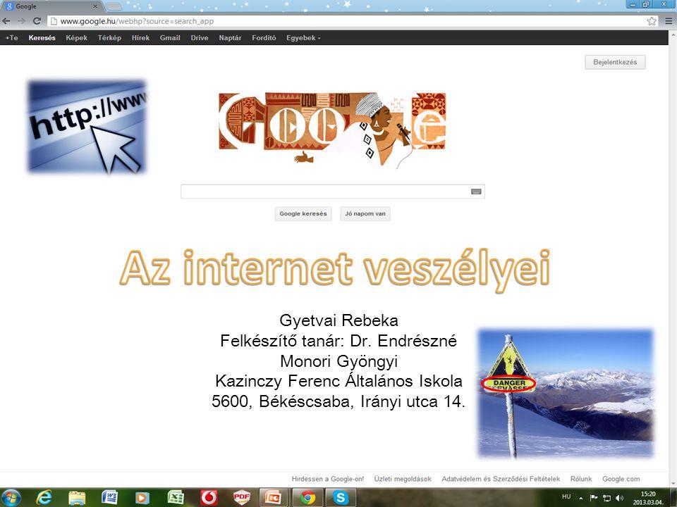 Az internet veszélyei Gyetvai Rebeka