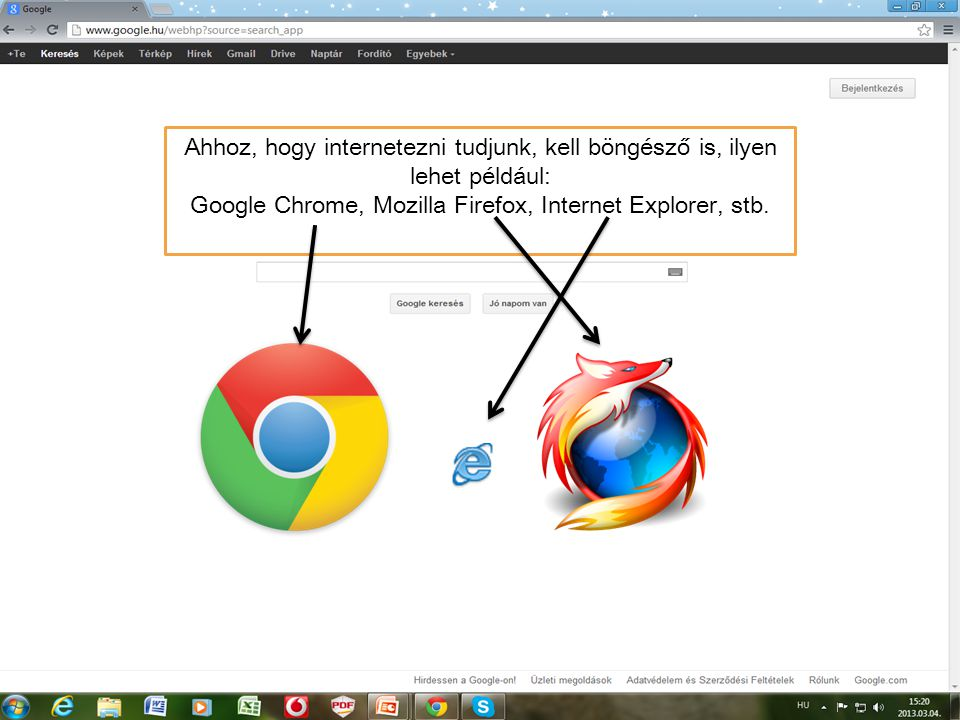 Google Chrome, Mozilla Firefox, Internet Explorer, stb.