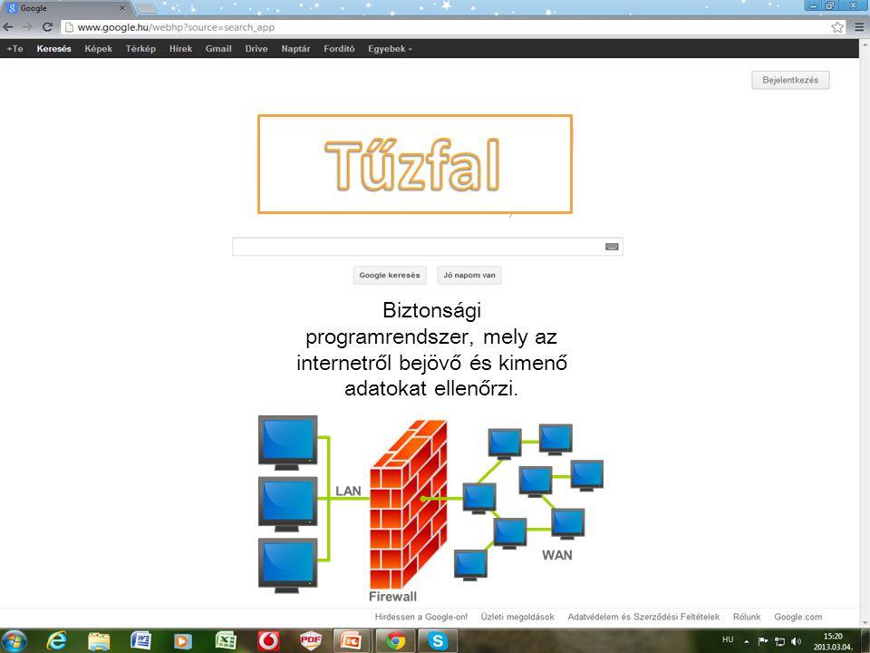 Tűzfal Biztonsági programrendszer, mely az internetről bejövő és kimenő adatokat ellenőrzi.