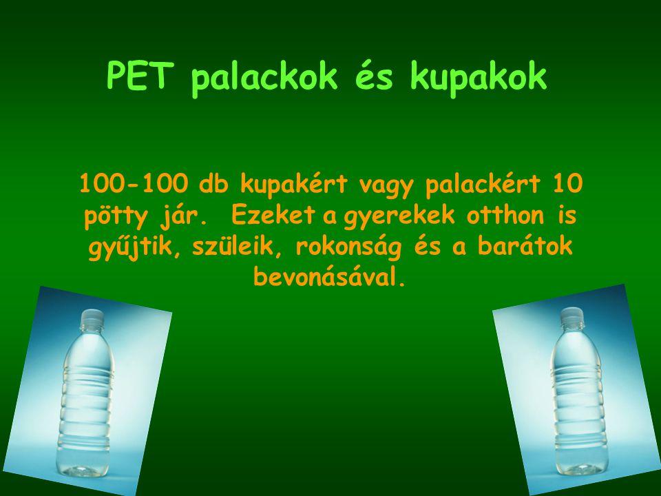 PET palackok és kupakok