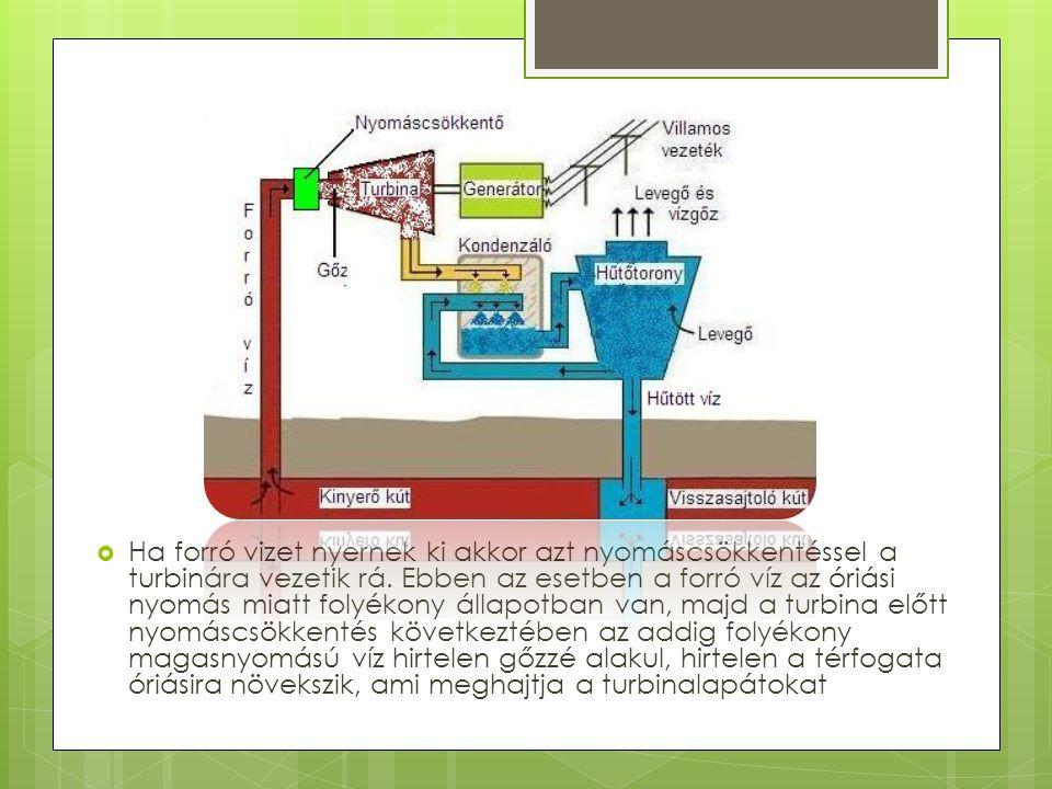 Ha forró vizet nyernek ki akkor azt nyomáscsökkentéssel a turbinára vezetik rá.