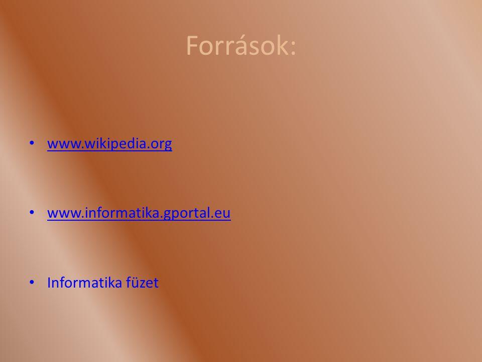 Források: www.wikipedia.org www.informatika.gportal.eu