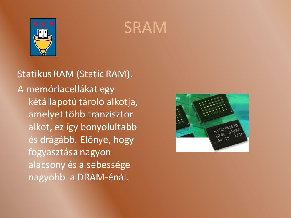 SRAM Statikus RAM (Static RAM).