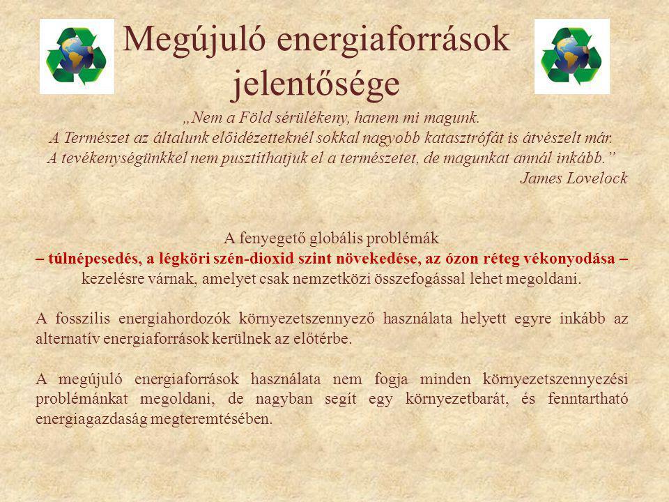 Megújuló energiaforrások jelentősége