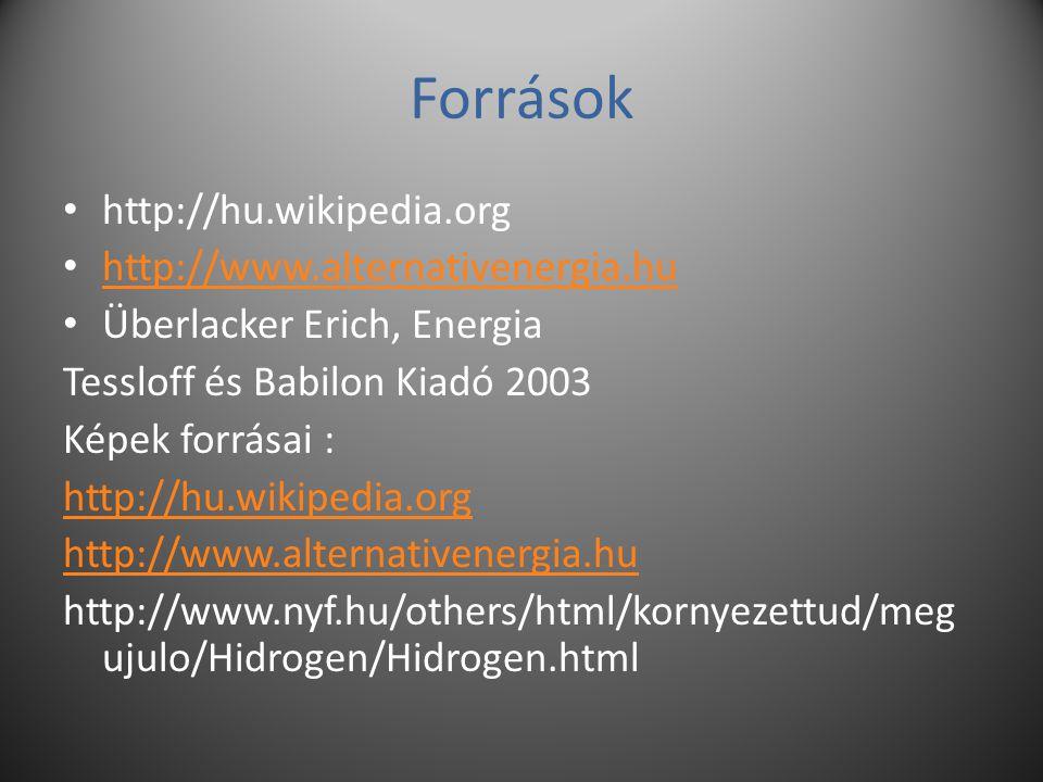 Források http://hu.wikipedia.org http://www.alternativenergia.hu
