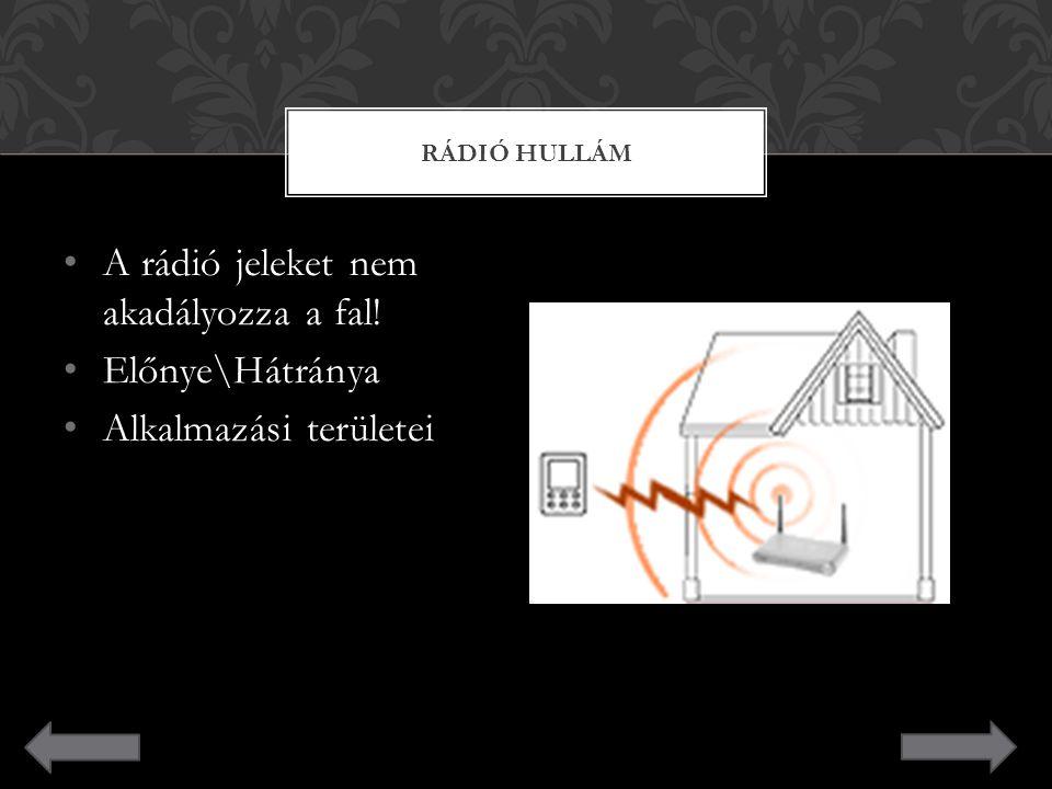 A rádió jeleket nem akadályozza a fal! Előnye\Hátránya