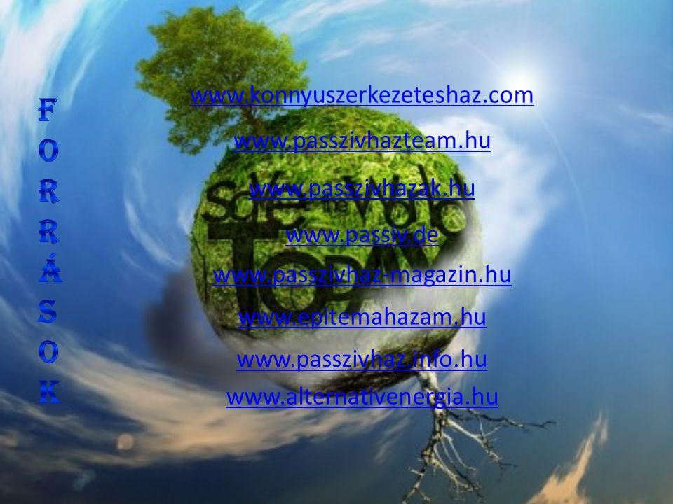 Források www.konnyuszerkezeteshaz.com www.passzivhazteam.hu