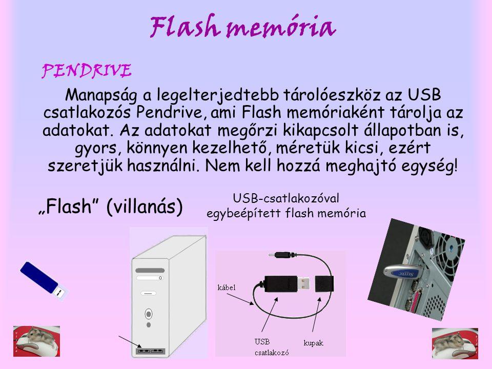 USB-csatlakozóval egybeépített flash memória