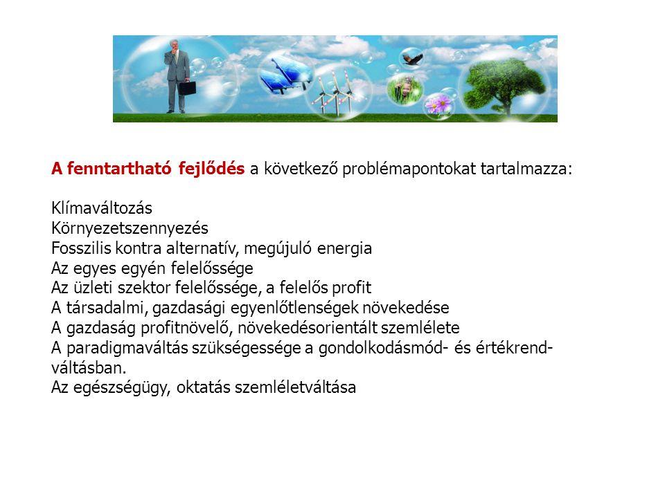 A fenntartható fejlődés a következő problémapontokat tartalmazza: