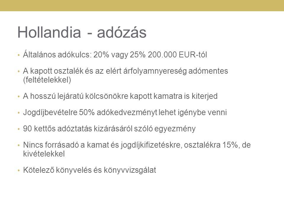 Hollandia - adózás Általános adókulcs: 20% vagy 25% 200.000 EUR-tól