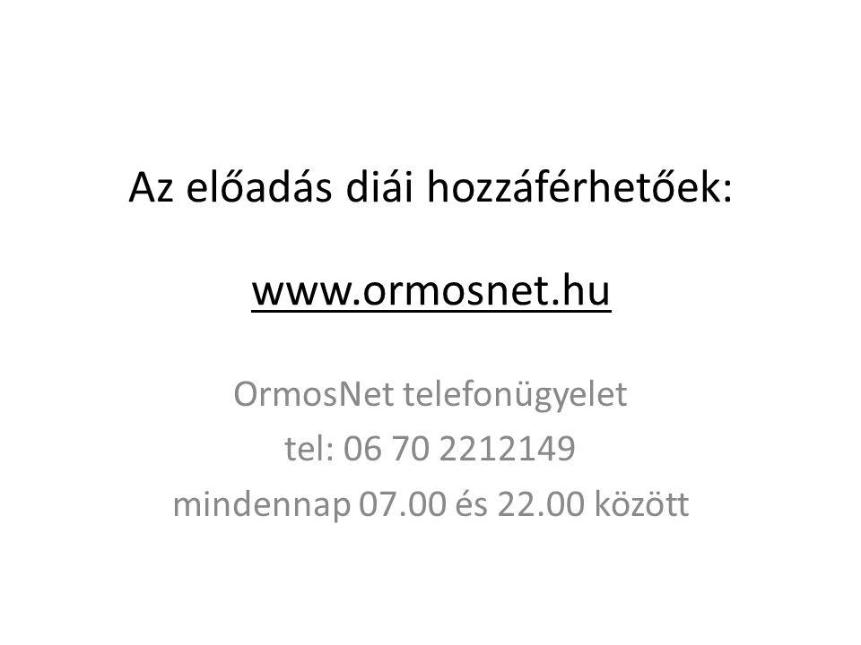 Az előadás diái hozzáférhetőek: www.ormosnet.hu